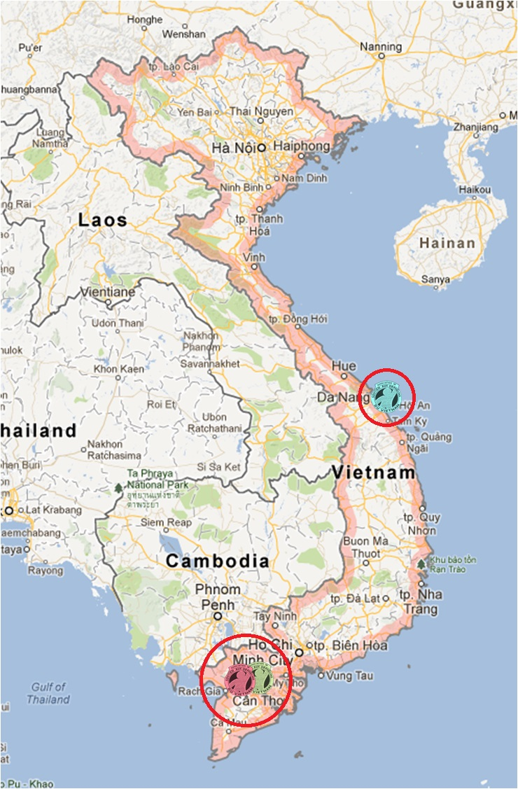 Map of Vietnam with Hoa Mai orphanages